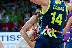 Fernando San Emeterio of Spain vs Gasper Vidmar of Slovenia during basketball match between National Teams of Slovenia and Spain at Day 15 in Semifinal of the FIBA EuroBasket 2017 at Sinan Erdem Dome in Istanbul, Turkey on September 14, 2017. Photo by Vid Ponikvar / Sportida