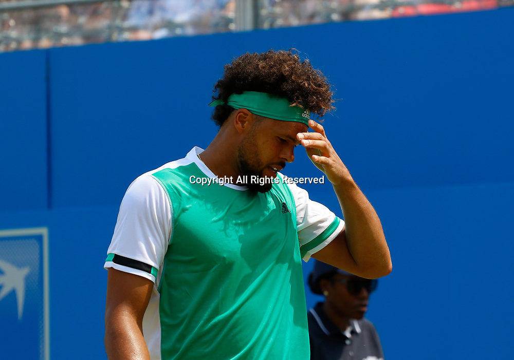 June 21st 2017, Queens Club, West Kensington, London; Aegon Tennis Championships, Day 3; Number five seed Jo-Wilfried Tsonga (FRA) reacts during his second round defeat against Gilles Muller (LUX)