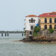 Historic buildings of Casco Viejo on the waterfront of Panama City, Panama, on Panama Bay.