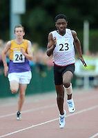 21 Aug 2016: Charles Okafor, from Westmeath, on his way to finishing 1st in the Boys U14 100m Final. 2016 Community Games National Festival 2016.  Athlone Institute of Technology, Athlone, Co. Westmeath. Picture: Caroline Quinn