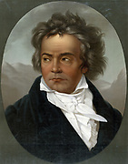 Ludwig van Beethoven (1770-1827) German composer and pianist whose music was transitional between the Classical and Romantic.