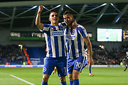 Brighton & Hove Albion winger Anthony Knockaert (11) applauds the fans and congratulates Brighton & Hove Albion centre forward Tomer Hemed (10) for his goal 2-0 during the EFL Sky Bet Championship match between Brighton and Hove Albion and Birmingham City at the American Express Community Stadium, Brighton and Hove, England on 4 April 2017. Photo by Phil Duncan.