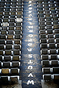 Rows of seats in the Loftus Versfeld Stadium in Tshwane / Pretoria, South Africa. Venue for the FIFA Confederations Cup South Africa 2009 and the 2010 FIFA World Cup in South Africa. The stadium was named after Robert Owen Loftus Versfeld, the founder of organized sports in Pretoria.