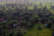 Aerial view of Sangkat Ampil, east of Angkor Wat, Siem Reap, Cambodia.