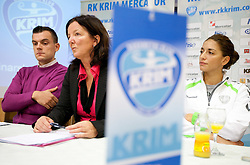 Jaka Kravanja, Head coach Marta Bon and Andrea Penezic during press conference of handball team RK Krim Mercator before new season 2010-2011, on September 29, 2010 in M-Hotel, Ljubljana, Slovenia. (Photo By Vid Ponikvar / Sportida.com)