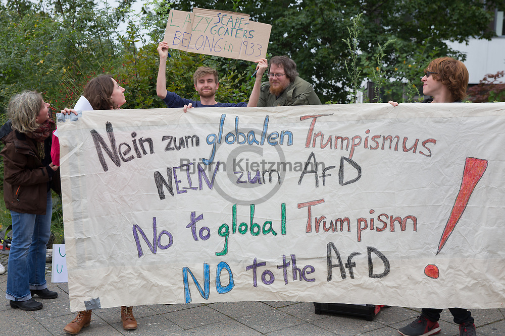 Berlin, Germany - 08.09.2017<br /> <br /> Counter protest aganist a election campaign event of the far right party Alternative for Germany (AfD) with AfD politican Beatrix von Storch and British UKIP politician Nigel Farage at the citadel Spandau.<br /> <br /> Protest gegen eine AfD-Wahlkampfveranstaltung mit Beatrix von Storch und dem britischen UKIP-Politiker Nigel Farage in der Zitadelle Spandau.<br />  <br /> Photo: Bjoern Kietzmann