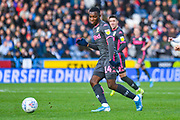 Leeds United forward Eddie Nketiah (14) passes the ball during the EFL Sky Bet Championship match between Huddersfield Town and Leeds United at the John Smiths Stadium, Huddersfield, England on 7 December 2019.