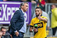 BREDA - NAC Breda - Roda JC , Rat Verlegh stadion , Voetbal , Finale play-offs , seizoen 2014/2105 , 31-05-2015 , NAC Breda speler Adnane Tighadouini (r) in gesprek met NAC Breda trainer Robert Maaskant