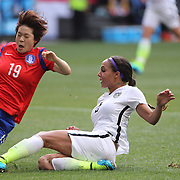 Sydney Leroux, (right), U.S. Women's National Team, shoots past Hye-ri Kim, Korean Republic, during the U.S. Women's National Team Vs Korean Republic, International Soccer Friendly in preparation for the FIFA Women's World Cup Canada 2015. Red Bull Arena, Harrison, New Jersey. USA. 30th May 2015. Photo Tim Clayton