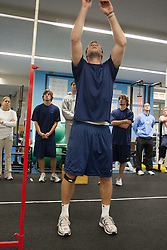 27 November 2007: North Carolina Tar Heels men's lacrosse Jack Ryan during a weight lifting session in Chapel Hill, NC.