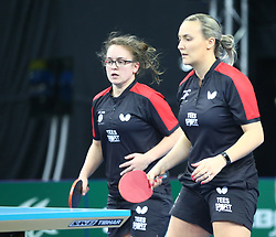 February 23, 2018 - London, England, United Kingdom - L-R Maria TSAPTSINOS of England  and Kelly SIBLEY of England .during 2018 International Table Tennis Federation World Cup match between Tianwei FENG of Singapore  and  against Everton at Copper Box Arena, London  England on 23 Feb 2018. (Credit Image: © Kieran Galvin/NurPhoto via ZUMA Press)