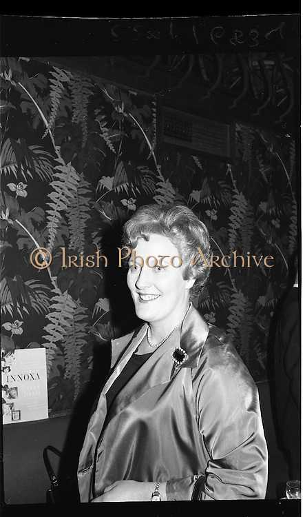 "Innoxa Reception At The Gresham Hotel..1963..02.10.1963..10.02.1963..2nd October 1963..At the Gresham Hotel, O'Connell Street, Dublin, Innoxa launched a new beauty range. The range,""Living Peach"", was introduced to members of the trade by Mr Bernard Mc Flynn,General Manager of Innoxa (England) Ltd. ..Portrait of Ms Eileen O'Boyle, Provincial Consultant at the launch of ""Living Peach"" the new Innoxa beauty range."