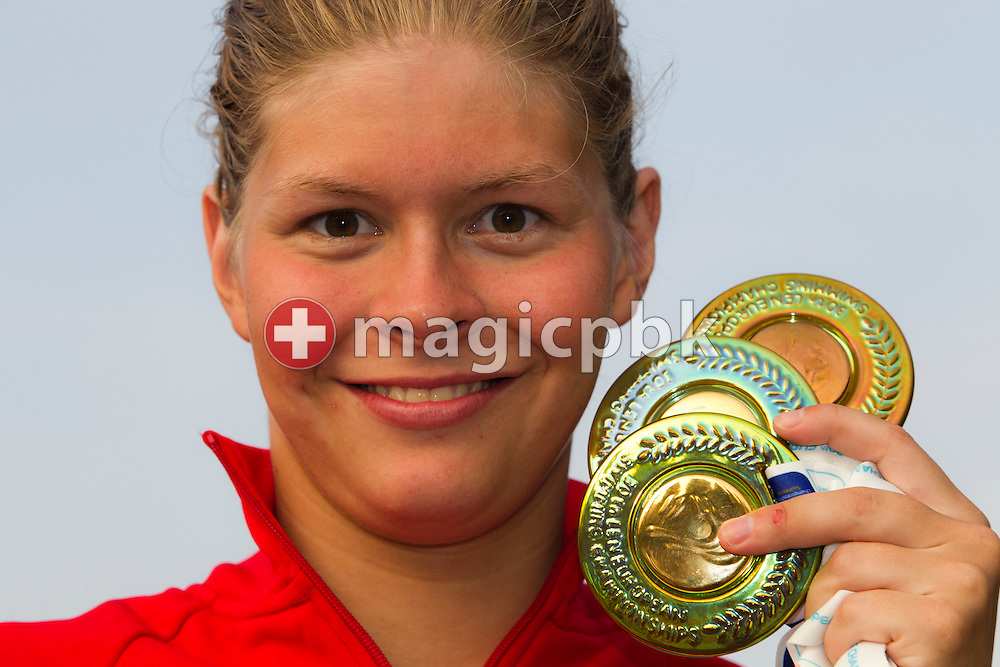Lotte FRIIS of Denmark poses with her three European Championship medals at the end of the European Swimming Championship at the Hajos Alfred Swimming complex in Budapest, Hungary, Sunday, Aug. 15, 2010. (Photo by Patrick B. Kraemer / MAGICPBK)