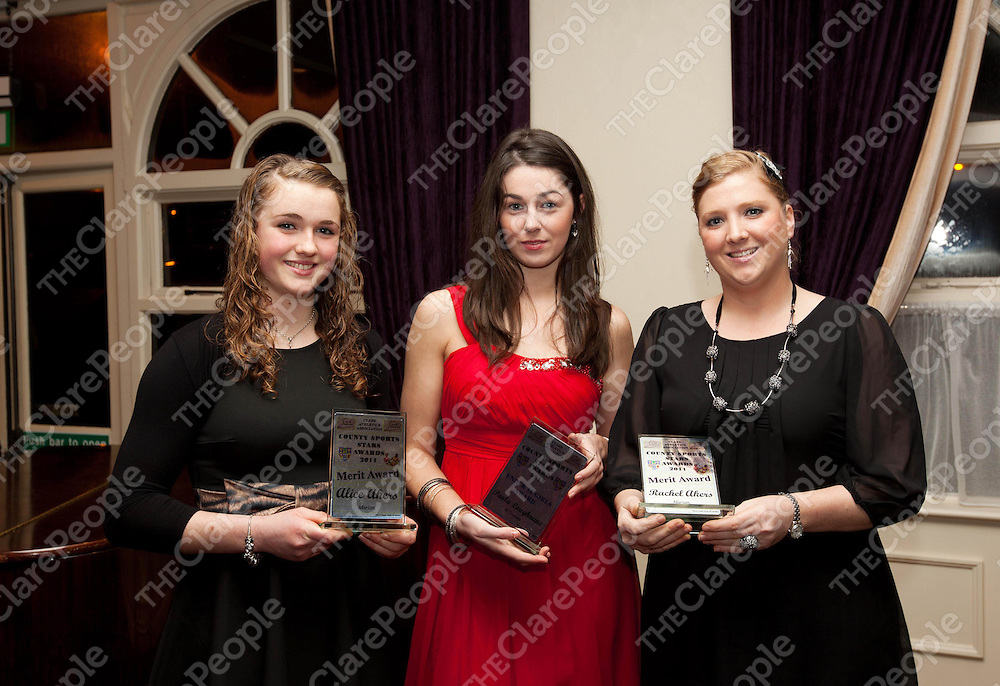 Alaice Akers, Merit, Paula Loughnane, under 18 and Rachael Akens, Merit Award at the County Sports Stars awards held at the Auburn Lodge.  Pic Press 22.