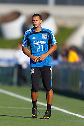 July 20, 2011; Santa Clara, CA, USA;  San Jose Earthquakes defender Jason Hernandez (21) warms up before the game against the Vancouver Whitecaps at Buck Shaw Stadium. San Jose tied Vancouver 2-2.