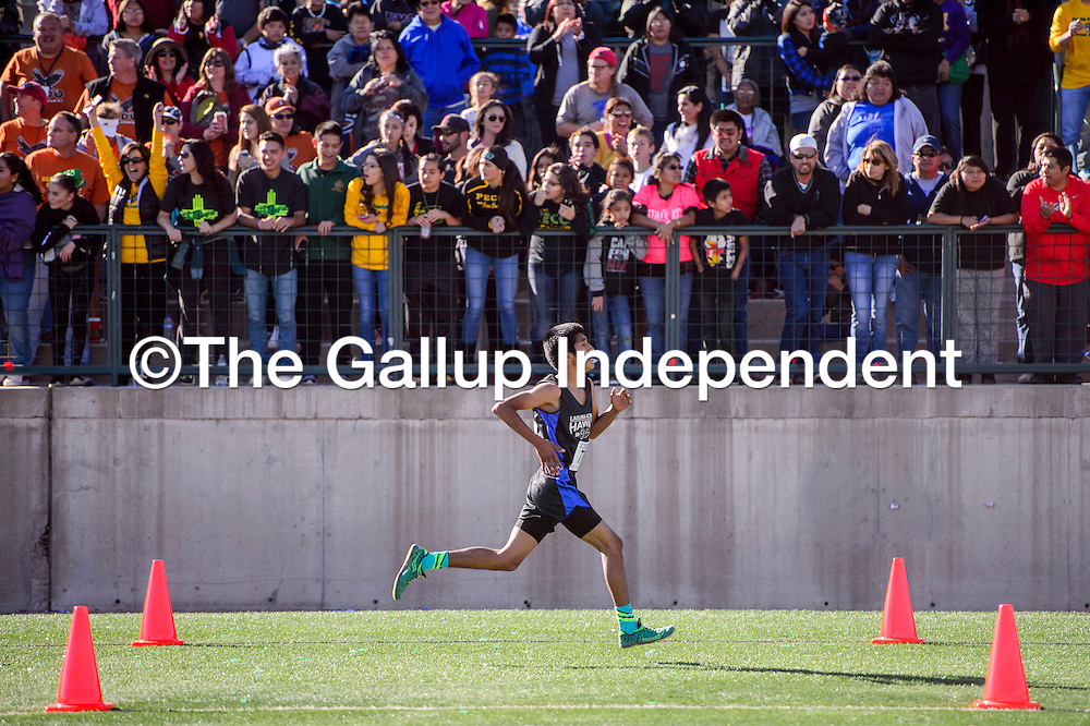 Laguna Acoma Hawk Colton Salvador finishes fourth in front of a cheering crowd in the boys 3A race in the New Mexico State meet at Rio Rancho High School Saturday