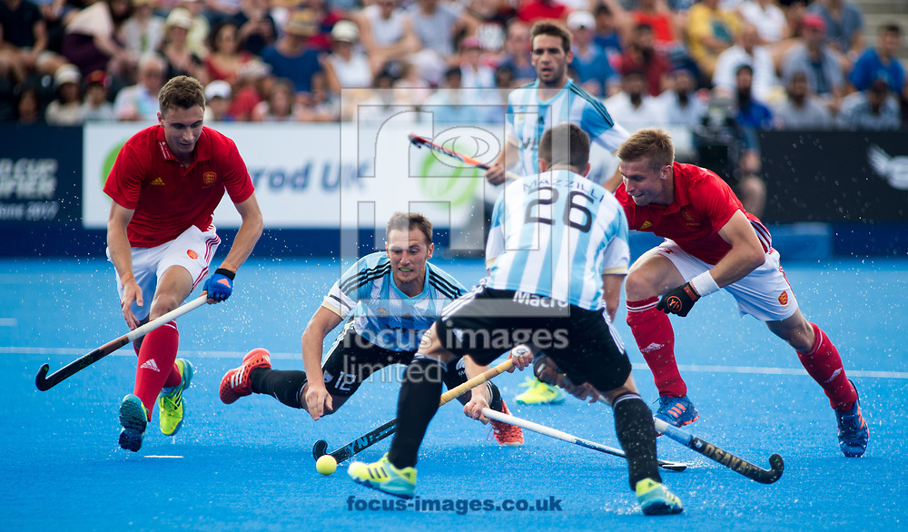 Lucas Vila of Argentina takes a tumble on day four of the Men's Hero Hockey World League Semi-Finals at Lee Valley Hockey Centre, Stratford<br /> Picture by Hannah Fountain/Focus Images Ltd 07814482222<br /> 18/06/2017