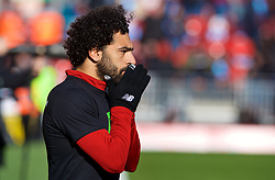 LIVERPOOL, ENGLAND - Saturday, February 24, 2018: Liverpool's Mohamed Salah prays before he warms-up during the FA Premier League match between Liverpool FC and West Ham United FC at Anfield. (Pic by David Rawcliffe/Propaganda)