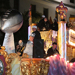 Feb 09, 2010; New Orleans, LA, USA; A float with a mock up of the Vince Lombardi Trophy passes by during the Super Bowl celebration parade for the New Orleans Saints 31-17 victory over the Indianapolis Colts in Super Bowl XLIV as the parade passed through the downtown streets of New Orleans, Louisiana.  Mandatory Credit: Derick E. Hingle-US-PRESSWIRE.