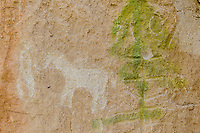 Dry Creek rock art, carved in Fish Canyon tuff, vandalized tree depiction, a horse and person, possibly Ute; San  Luis Valley, Rio Grande County, CO