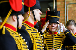 © Licensed to London News Pictures. 06/02/2019. London, UK. Members of The King's Troop Royal Horse Artillery gets ready in Wellington Barracks before heading to Green Park for a 41-gun salute to mark the 67th anniversary of the Queen Elizabeth II's accession to the throne. Photo credit: Dinendra Haria/LNP
