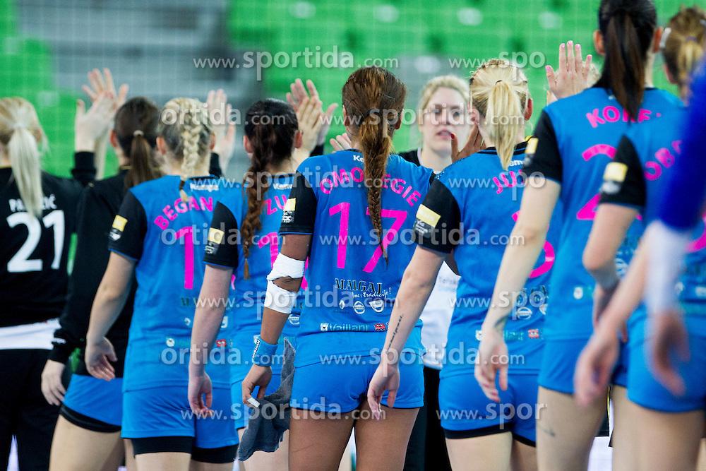 Players of RK Krim Mercator during handball match between RK Krim Mercator (SLO) and Rostov-Don (RUS) in 6th Round of Women's EHF Champions League 2015/16, on November 20, 2015 in Arena Stozice, Ljubljana, Slovenia. Photo by Urban Urbanc / Sportida