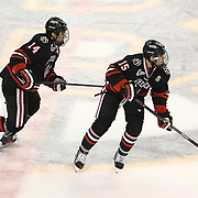Kevin Roy #15 of the Northeastern Huskies and Braden Pimm #14 of the Northeastern Huskies on the ice during The Beanpot Championship Game at TD Garden on February 10, 2014 in Boston, Massachusetts. (Photo by Elan Kawesch)