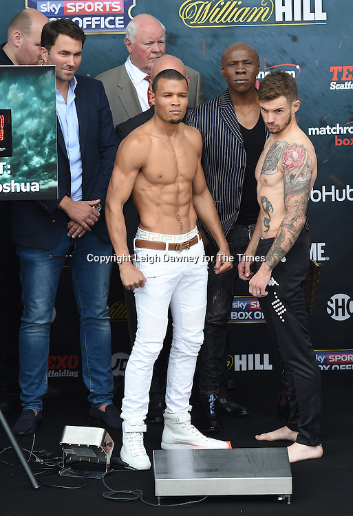 Chris Eubank Jnr and Tom Doran at their weigh in at the West Piazza, Covent Garden, London on the 24th June 2016. © Leigh Dawney for The Times.