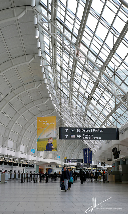 The light and airy Terminal 3 departure hall at Toronto Lester B Pearson International Airport.
