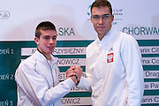 (L) Borna Coric of Croatia &amp; (R) Jerzy Janowicz of Poland while official draw at Regent Hotel one day before the BNP Paribas Davis Cup 2014 between Poland and Croatia at Torwar Hall in Warsaw on April 3, 2014.<br /> <br /> Poland, Warsaw, April 3, 2014<br /> <br /> Picture also available in RAW (NEF) or TIFF format on special request.<br /> <br /> For editorial use only. Any commercial or promotional use requires permission.<br /> <br /> Mandatory credit:<br /> Photo by &copy; Adam Nurkiewicz / Mediasport