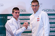 (L) Borna Coric of Croatia & (R) Jerzy Janowicz of Poland while official draw at Regent Hotel one day before the BNP Paribas Davis Cup 2014 between Poland and Croatia at Torwar Hall in Warsaw on April 3, 2014.<br /> <br /> Poland, Warsaw, April 3, 2014<br /> <br /> Picture also available in RAW (NEF) or TIFF format on special request.<br /> <br /> For editorial use only. Any commercial or promotional use requires permission.<br /> <br /> Mandatory credit:<br /> Photo by © Adam Nurkiewicz / Mediasport