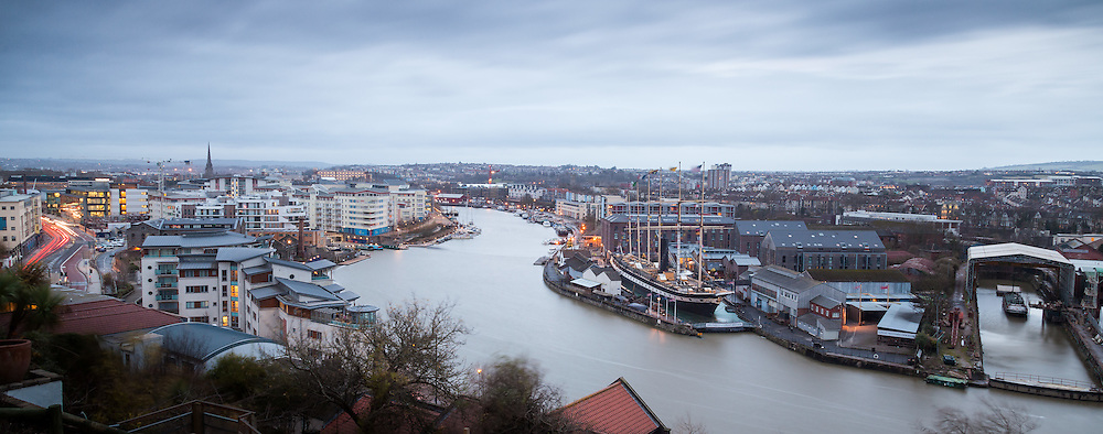 A blustery, cloudy dawn over Bristol on 22nd December 2014, the day at which the days start to become longer