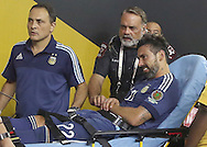 HOUSTON, TEXAS - JUNE 21:  Ezequiel Lavezzi #22 of Argentina was carted off of the pitch after he flipped over the boards during the Semifinal match between Argentina and US at NRG Stadium as part of Copa America Centenario US 2016 on June 21, 2016 in Houston, Texas, US. Argentina won 4 to 0. (Photo by Thomas B. Shea/LatinContent/Getty Images)