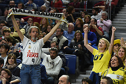 March 2, 2018 - Madrid, Madrid, Spain - Real Madrid and Fenerbahce fans   pictured during the 2017/2018 Turkish Airlines EuroLeague Regular Season Round 24 game between Real Madrid and Fenerbahce Dogus Istanbul at WiZink center in Madrid. (Credit Image: © Jorge Sanz/Pacific Press via ZUMA Wire)