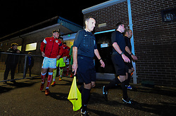 The officials lead the players out - Mandatory by-line: Alex Davidson/JMP - 16/11/2017 - FOOTBALL - Woodspring Stadium - Weston-super-Mare, England - Bristol City U23 v Bristol Rovers U23 - Central League Cup
