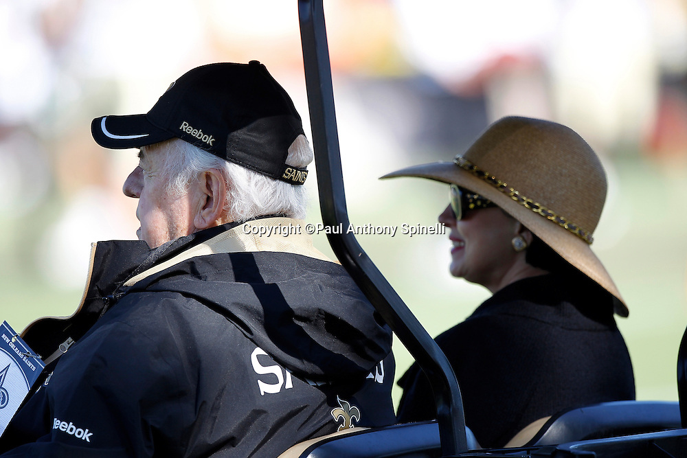 New Orleans Saints owner Tom Benson and wife Gayle Benson watch the team's west coast NFL training camp on Wednesday, August 24, 2011 in Oxnard, California. (©Paul Anthony Spinelli)