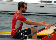 UNITED KINGDOM-LYMINGTON.  Army Doctors, Nick Dennison (pictured)and Hamish Reid (L) cross the finishing line in the Solent near Lymington after setting a world record for rowing non-stop around the British Isles to raise money for Help for Heroes and the Army Benevolent Fund.. 01/07/2010. STEPHEN SIMPSON...