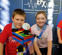 Paul Redding and Shania Cunningham from Clontuskert National School, Ballinasloe,  Co. Galway at the Science and Technology Festival programme launch at NUI, Galway  by Mr. William Hawkins, Chairman and CEO of Medtronic Inc., who employ 2000 people in Ireland and 44,000 worldwide in the Medical devices sector. The Festival runs from the 8th till the 21st of November in County Galway. Photo:Andrew Downes. .