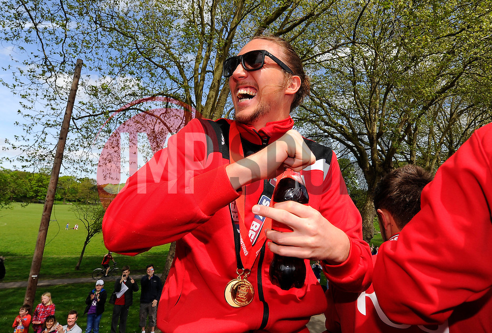 Bristol City's Luke Ayling on the top deck of the open top bus tour- Photo mandatory by-line: Joe Meredith/JMP - Mobile: 07966 386802 - 04/05/2015 - SPORT - Football - Bristol -  - Bristol City Celebration Tour
