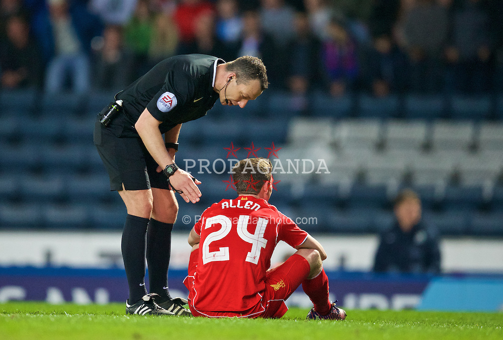 BLACKBURN, ENGLAND - Wednesday, April 8, 2015: Liverpool's Joe Allen during the FA Cup 6th Round Quarter-Final Replay match against Blackburn Rovers at Ewood Park. (Pic by David Rawcliffe/Propaganda)