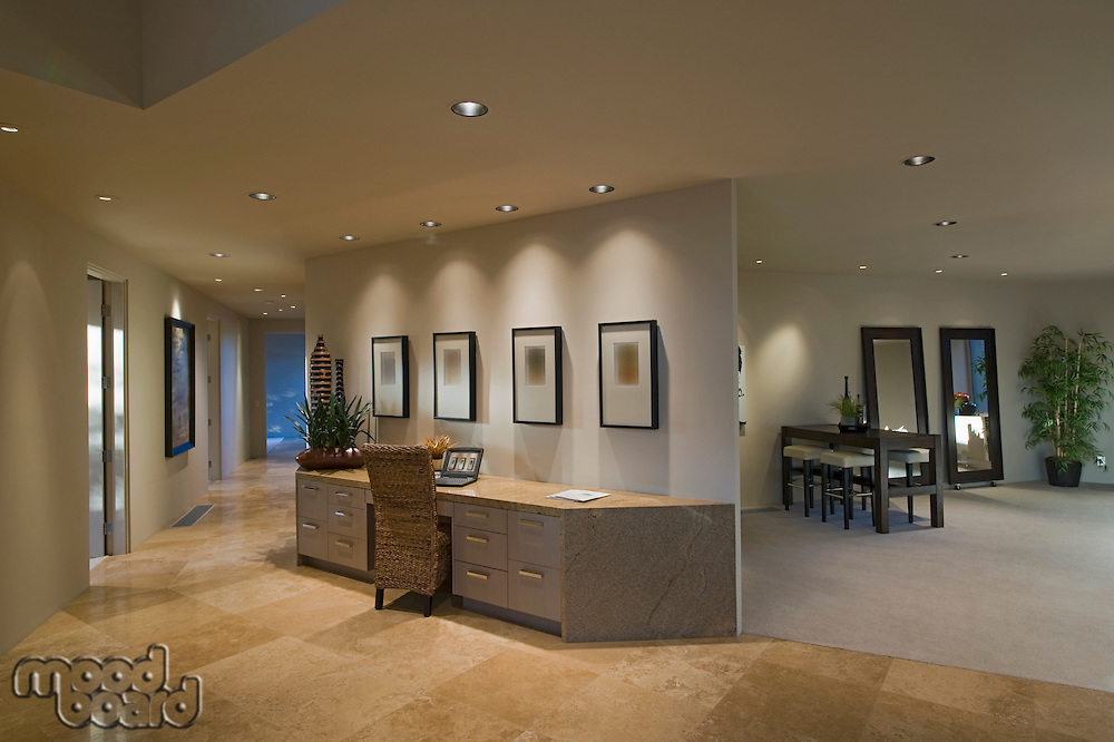 Partition desk in luxury Palm Springs home