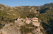 Balneario de Cardo, or Cardo Spa, aerial view, in Baix Ebre, Catalonia, Spain. The building was originally a convent with 14 hermitages, founded in 1605 by Pere Pau Revull, and converted into a spa in 1866. It became a Republican military hospital in the 20th century, and a mineral water bottling plant, and is now under restoration. Picture by Manuel Cohen