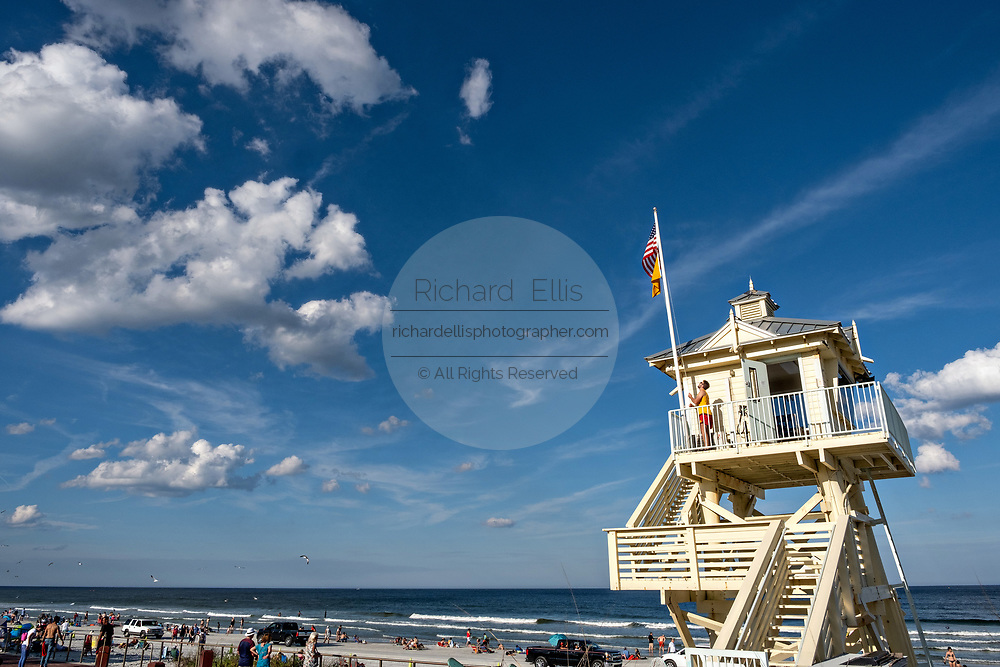 The lifeguards tower along Flagler Avenue Boardwalk in New Smyrna Beach, Florida.