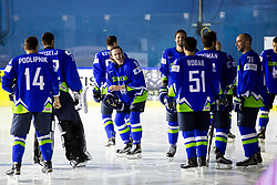 Ziga Jeglic of Slovenia, Blaz Gregorc of Slovenia, Mitja Robar of Slovenia, Bostjan Golicic of Slovenia and other players before Official photo session of Team Slovenia at the 2017 IIHF Men's World Championship, on May 11, 2017 in AccorHotels Arena in Paris, France. Photo by Vid Ponikvar / Sportida