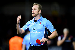 Referee Waynes Barnes award a red card to Harry Williams of Exeter Chiefs - Mandatory by-line: Ryan Hiscott/JMP - 29/12/2019 - RUGBY - Sandy Park - Exeter, England - Exeter Chiefs v Saracens - Gallagher Premiership Rugby