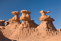 Odd shaped hoodoos of Entrada Sandstone in Goblin Valley State Park Utah USA