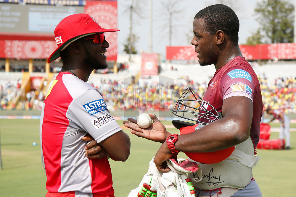 Carlos Brathwaite of the Delhi Daredevils and Darren Sammy of Kings XI Punjab before match 36 of the Vivo 2017 Indian Premier League between the Kings XI Punjab and the Delhi Daredevils  held at the Punjab Cricket Association IS Bindra Stadium in Mohali, India on the 30th April 2017<br /> <br /> Photo by Deepak Malik - Sportzpics - IPL