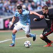 NEW YORK, NEW YORK - March 12:  Jack Harrison #11 of New York City FC is challenged by Taylor Kemp #2 of D.C. United during the NYCFC Vs D.C. United regular season MLS game at Yankee Stadium on March 12, 2017 in New York City. (Photo by Tim Clayton/Corbis via Getty Images)