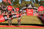 Oak Valley ( Elgin / Grabouw ), SOUTH AFRICA - overall ladies winners, hanlie Booyens and Sharon Laws during the final stage stage seven , 7 , of the Absa Cape Epic Mountain Bike Stage Race between Oak Valley ( Elgin / Grabouw ) and Lourensford on the 28 March 2009 in the Western Cape, South Africa..Photo by Karin Schermbrucker  /SPORTZPICS