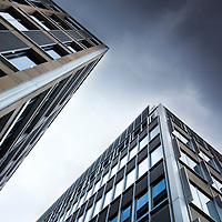 View looking up at tall modern glass buildings. Sheffield, England